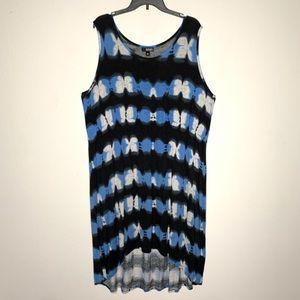 a.n.a blue black tie dye hi-lo summer dress 3X